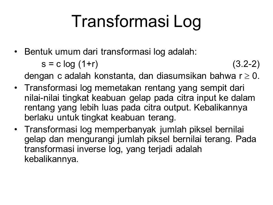 Transformasi Log Bentuk umum dari transformasi log adalah: s = c log (1+r)(3.2-2) dengan c adalah konstanta, dan diasumsikan bahwa r  0. Transformasi