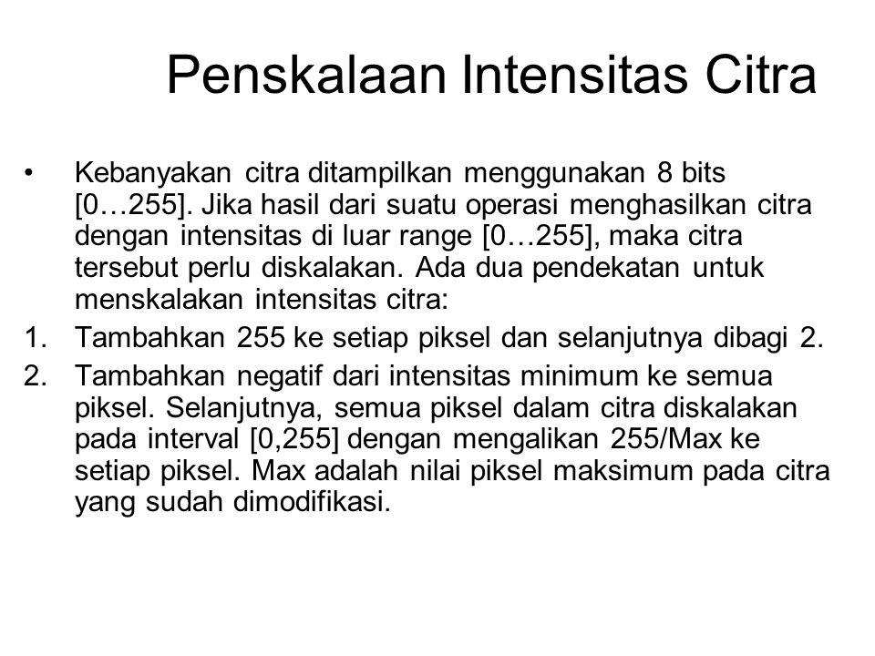 Penskalaan Intensitas Citra Kebanyakan citra ditampilkan menggunakan 8 bits [0…255]. Jika hasil dari suatu operasi menghasilkan citra dengan intensita