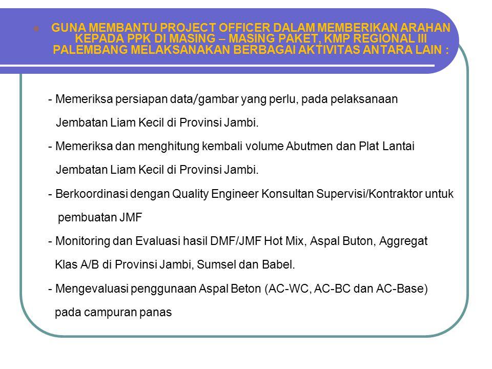LAYANAN MEMBANTU BALAI DALAM PEMERIKSAAN Konsultan Manajemen Proyek (KMP) Regional 3 Palembang dilibatkan untuk memonitor dan mengevaluasi didalam pem