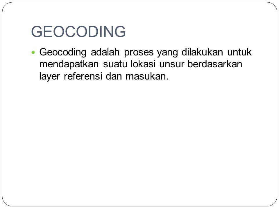 GEOCODING Geocoding adalah proses yang dilakukan untuk mendapatkan suatu lokasi unsur berdasarkan layer referensi dan masukan.