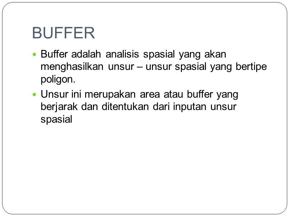 BUFFER Buffer adalah analisis spasial yang akan menghasilkan unsur – unsur spasial yang bertipe poligon.