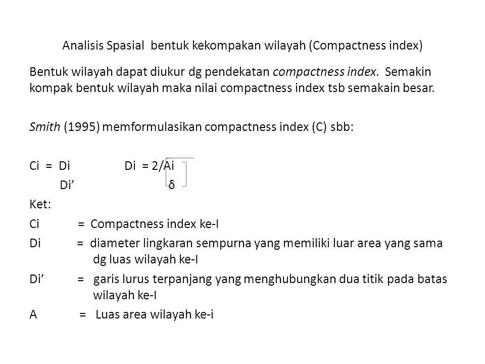 Analisis Spasial bentuk kekompakan wilayah (Compactness index) Bentuk wilayah dapat diukur dg pendekatan compactness index. Semakin kompak bentuk wila