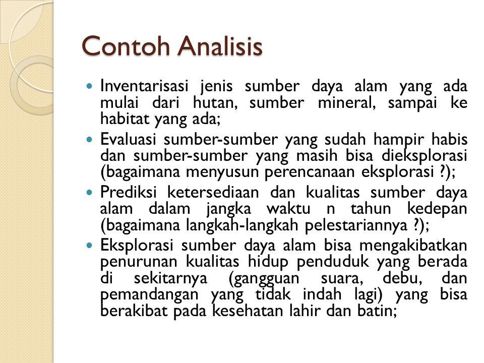 Contoh Analisis Inventarisasi jenis sumber daya alam yang ada mulai dari hutan, sumber mineral, sampai ke habitat yang ada; Evaluasi sumber-sumber yan