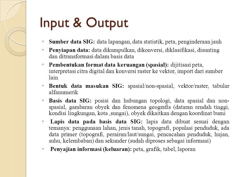 Input & Output * Sumber data SIG: data lapangan, data statistik, peta, penginderaan jauh * Penyiapan data: data dikumpulkan, dikonversi, diklasifikasi
