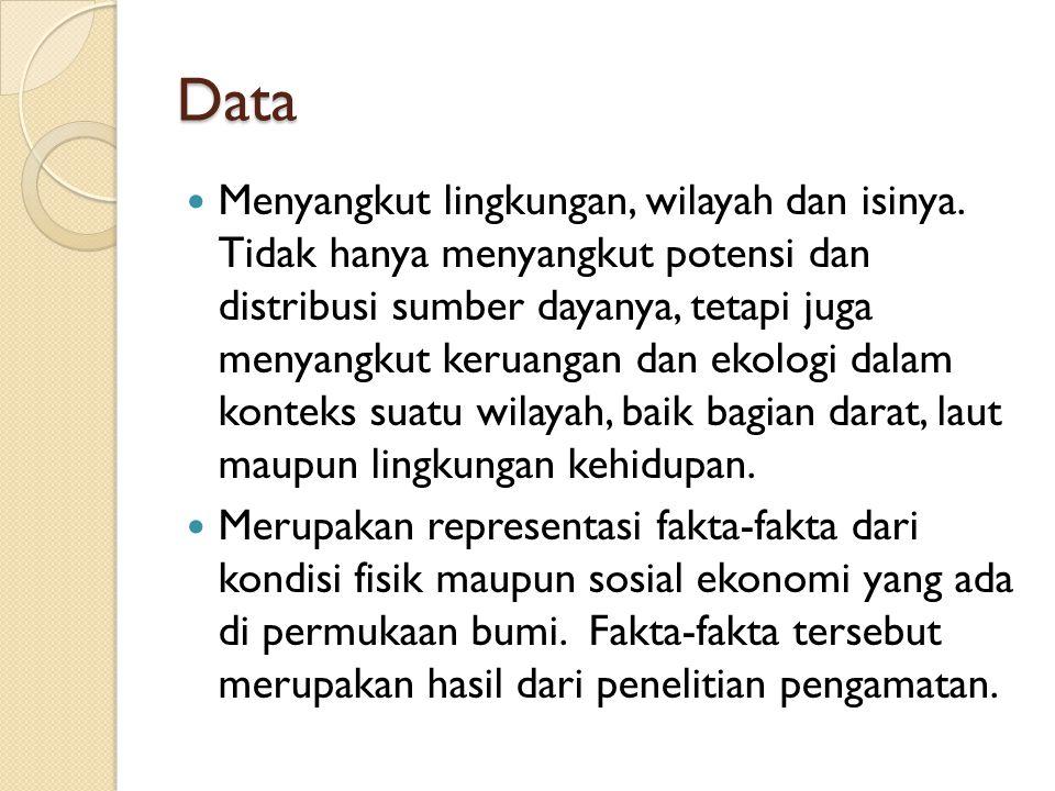Data Menyangkut lingkungan, wilayah dan isinya. Tidak hanya menyangkut potensi dan distribusi sumber dayanya, tetapi juga menyangkut keruangan dan eko