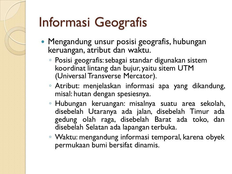 Informasi Geografis Mengandung unsur posisi geografis, hubungan keruangan, atribut dan waktu. ◦ Posisi geografis: sebagai standar digunakan sistem koo