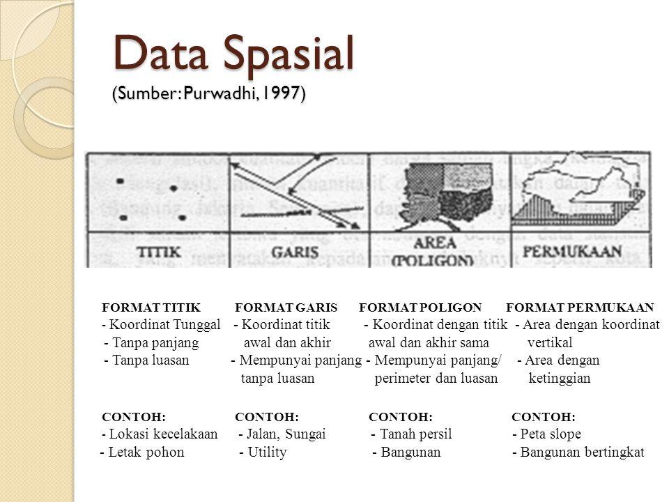 Data Spasial (Sumber: Purwadhi, 1997) FORMAT TITIK FORMAT GARIS FORMAT POLIGON FORMAT PERMUKAAN - Koordinat Tunggal - Koordinat titik - Koordinat deng