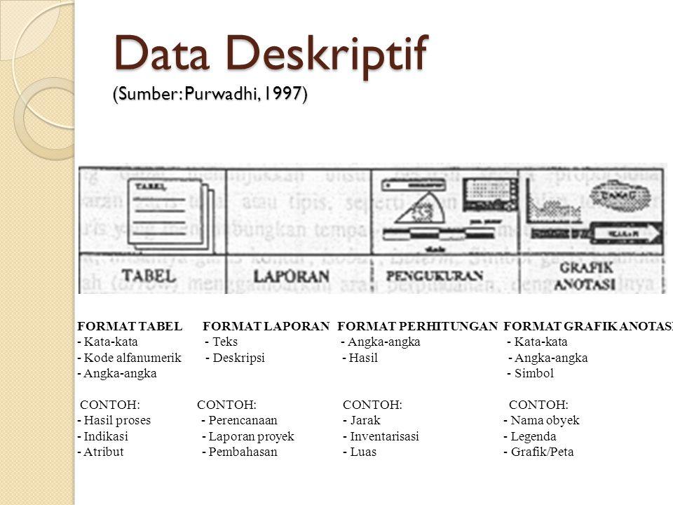 Data Deskriptif (Sumber: Purwadhi, 1997) FORMAT TABEL FORMAT LAPORAN FORMAT PERHITUNGAN FORMAT GRAFIK ANOTASI - Kata-kata - Teks - Angka-angka - Kata-