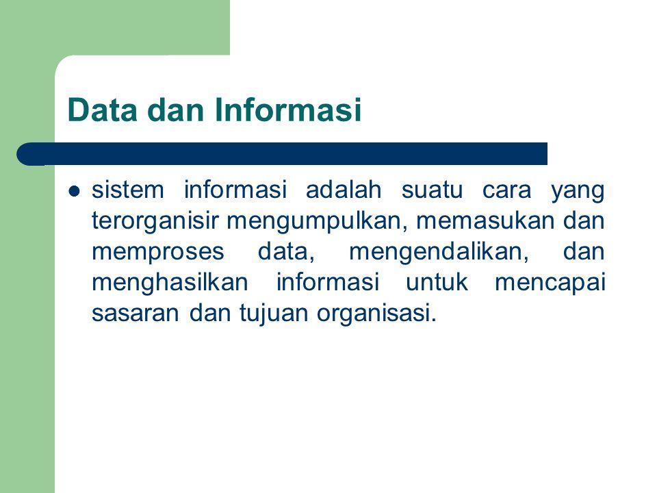 Data dan Informasi sistem informasi adalah suatu cara yang terorganisir mengumpulkan, memasukan dan memproses data, mengendalikan, dan menghasilkan informasi untuk mencapai sasaran dan tujuan organisasi.