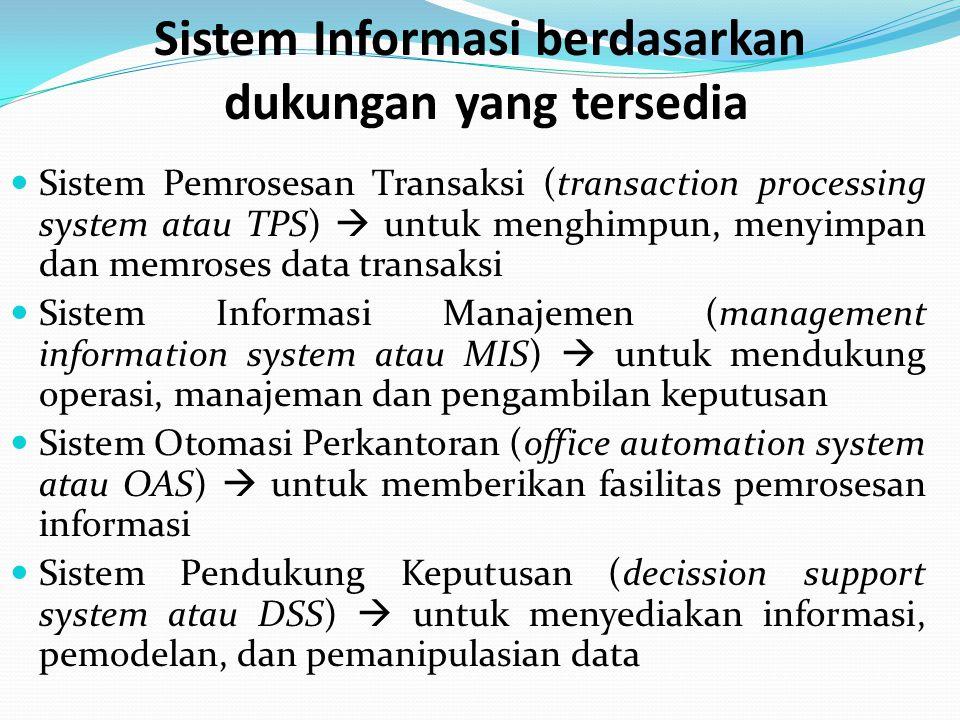 Sistem Informasi berdasarkan dukungan yang tersedia Sistem Pemrosesan Transaksi (transaction processing system atau TPS)  untuk menghimpun, menyimpan dan memroses data transaksi Sistem Informasi Manajemen (management information system atau MIS)  untuk mendukung operasi, manajeman dan pengambilan keputusan Sistem Otomasi Perkantoran (office automation system atau OAS)  untuk memberikan fasilitas pemrosesan informasi Sistem Pendukung Keputusan (decission support system atau DSS)  untuk menyediakan informasi, pemodelan, dan pemanipulasian data