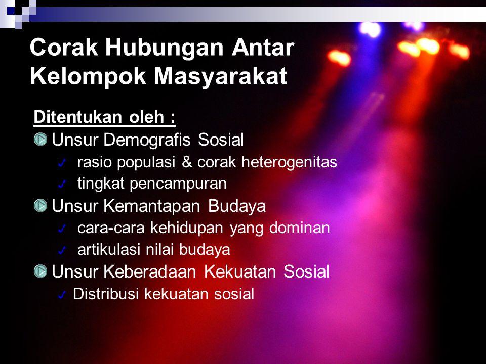 Corak Hubungan Antar Kelompok Masyarakat Ditentukan oleh : Unsur Demografis Sosial rasio populasi & corak heterogenitas tingkat pencampuran Unsur Kema