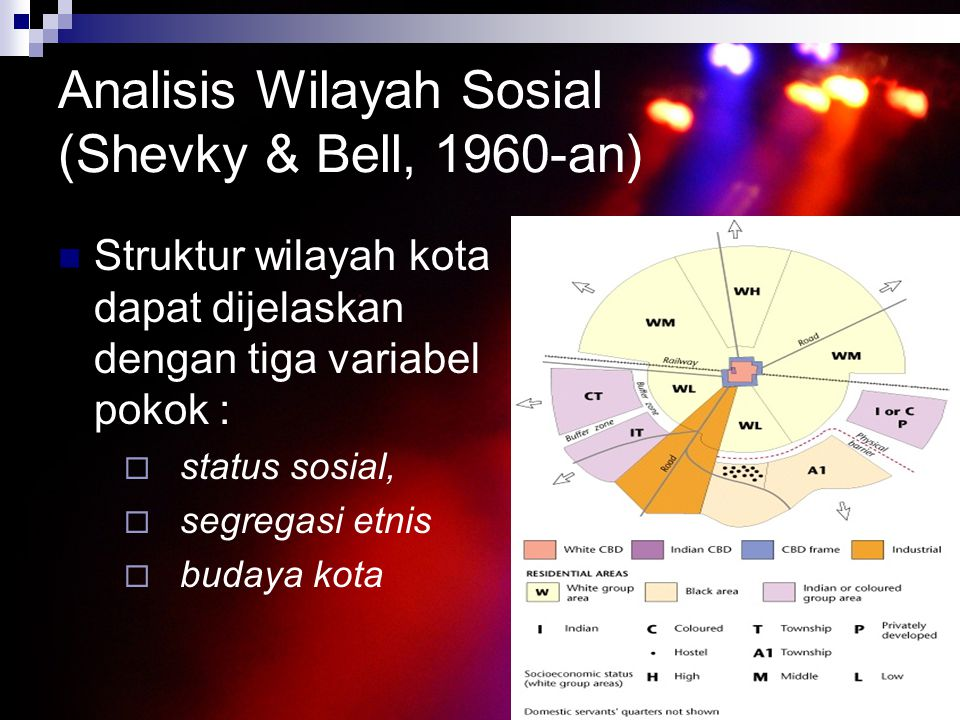 Analisis Wilayah Sosial (Shevky & Bell, 1960-an) Struktur wilayah kota dapat dijelaskan dengan tiga variabel pokok :  status sosial,  segregasi etni