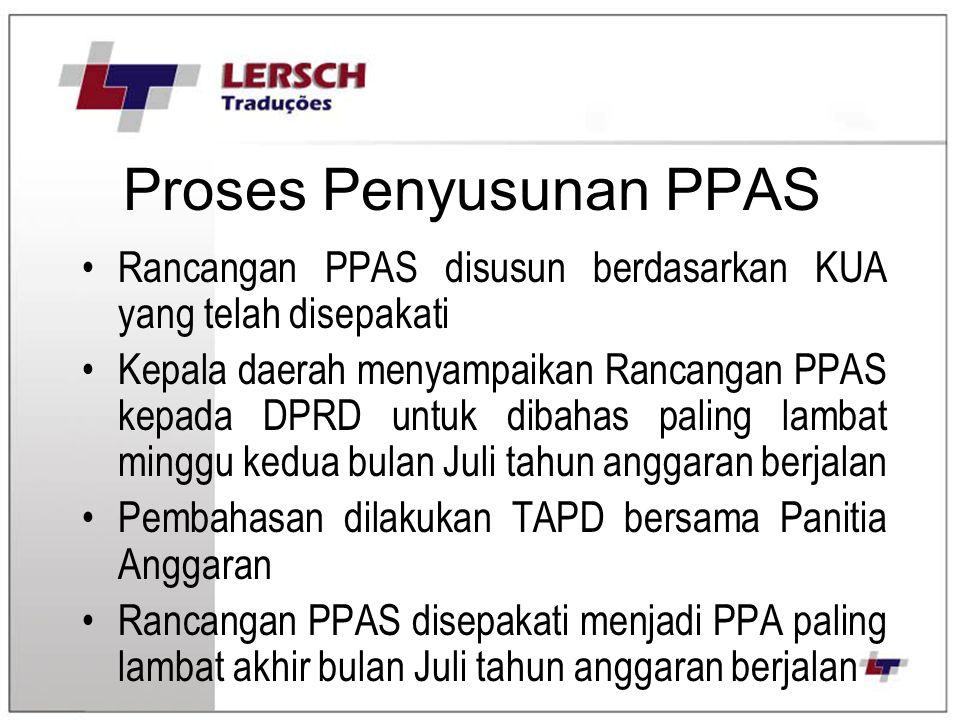 Proses Penyusunan PPAS Rancangan PPAS disusun berdasarkan KUA yang telah disepakati Kepala daerah menyampaikan Rancangan PPAS kepada DPRD untuk dibaha
