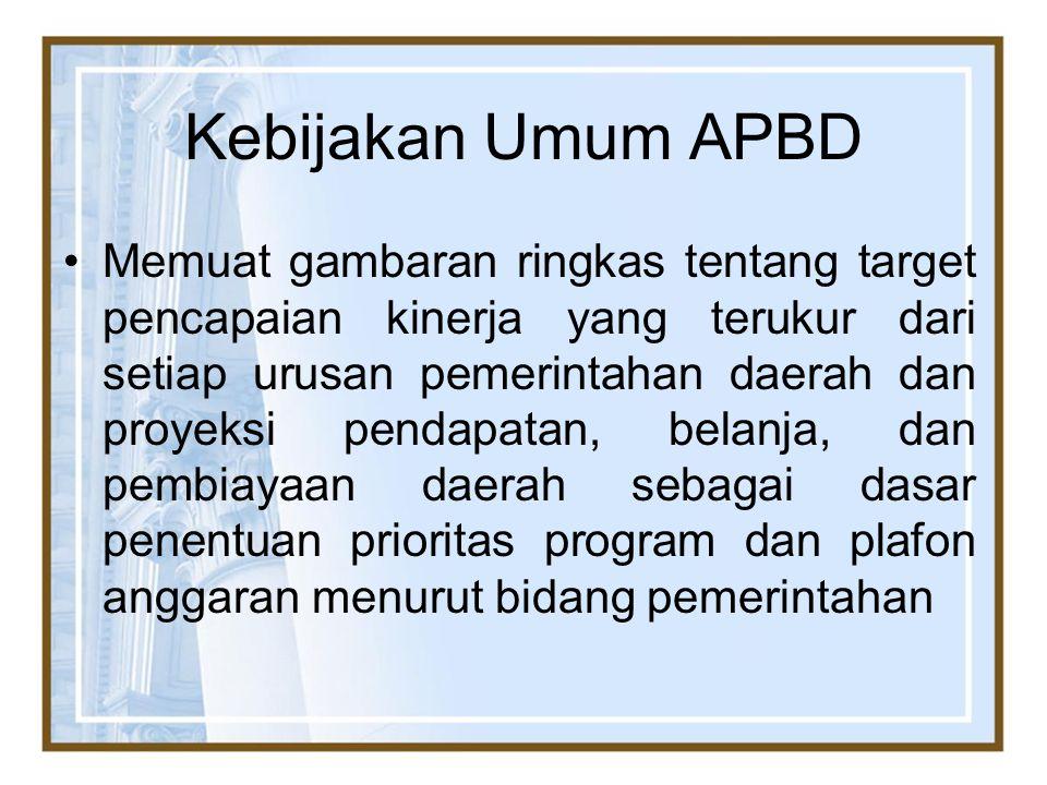 Kebijakan Umum APBD Memuat gambaran ringkas tentang target pencapaian kinerja yang terukur dari setiap urusan pemerintahan daerah dan proyeksi pendapa