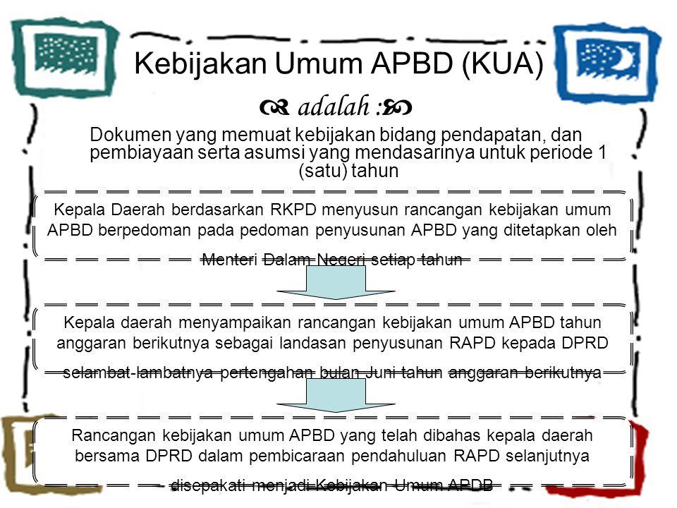 Kebijakan Umum APBD (KUA)  adalah :  Dokumen yang memuat kebijakan bidang pendapatan, dan pembiayaan serta asumsi yang mendasarinya untuk periode 1