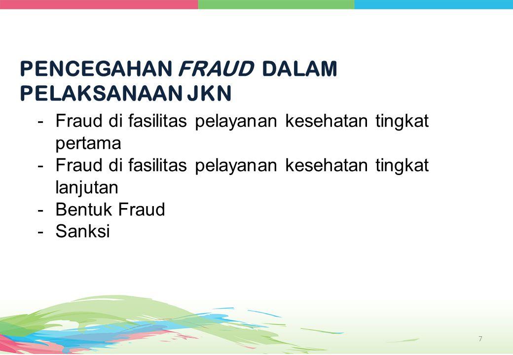 PENCEGAHAN FRAUD DALAM PELAKSANAAN JKN 7 -Fraud di fasilitas pelayanan kesehatan tingkat pertama -Fraud di fasilitas pelayanan kesehatan tingkat lanju