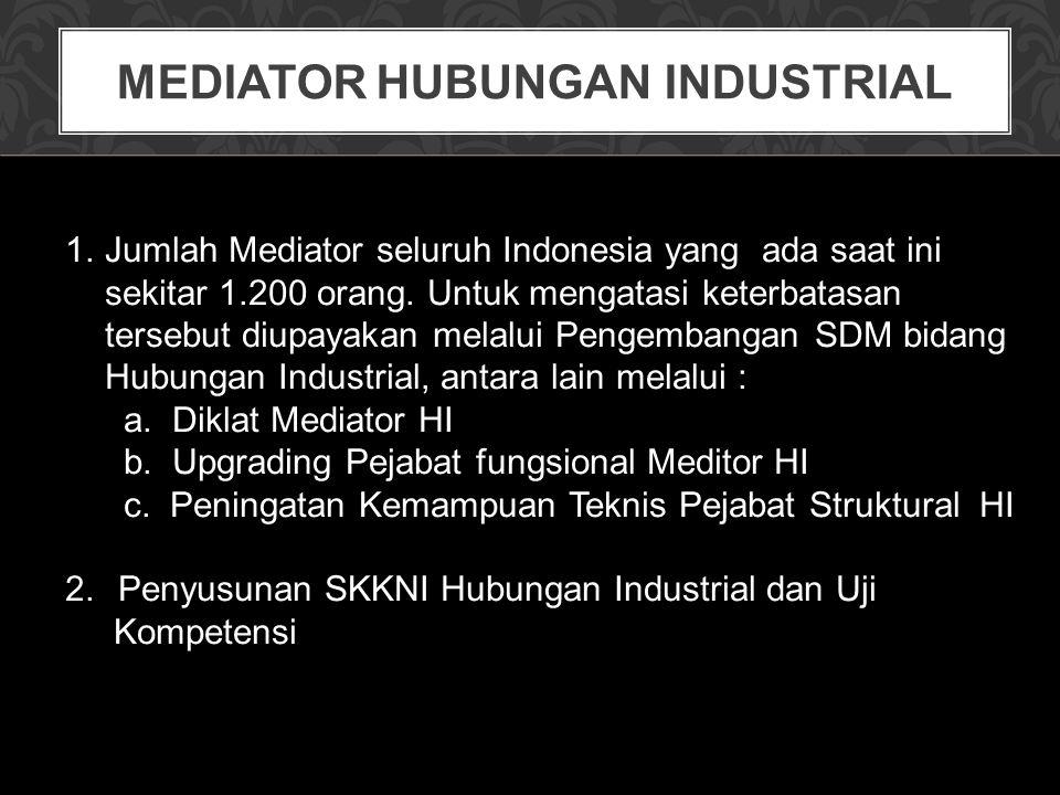 MEDIATOR HUBUNGAN INDUSTRIAL 1.Jumlah Mediator seluruh Indonesia yang ada saat ini sekitar 1.200 orang. Untuk mengatasi keterbatasan tersebut diupayak