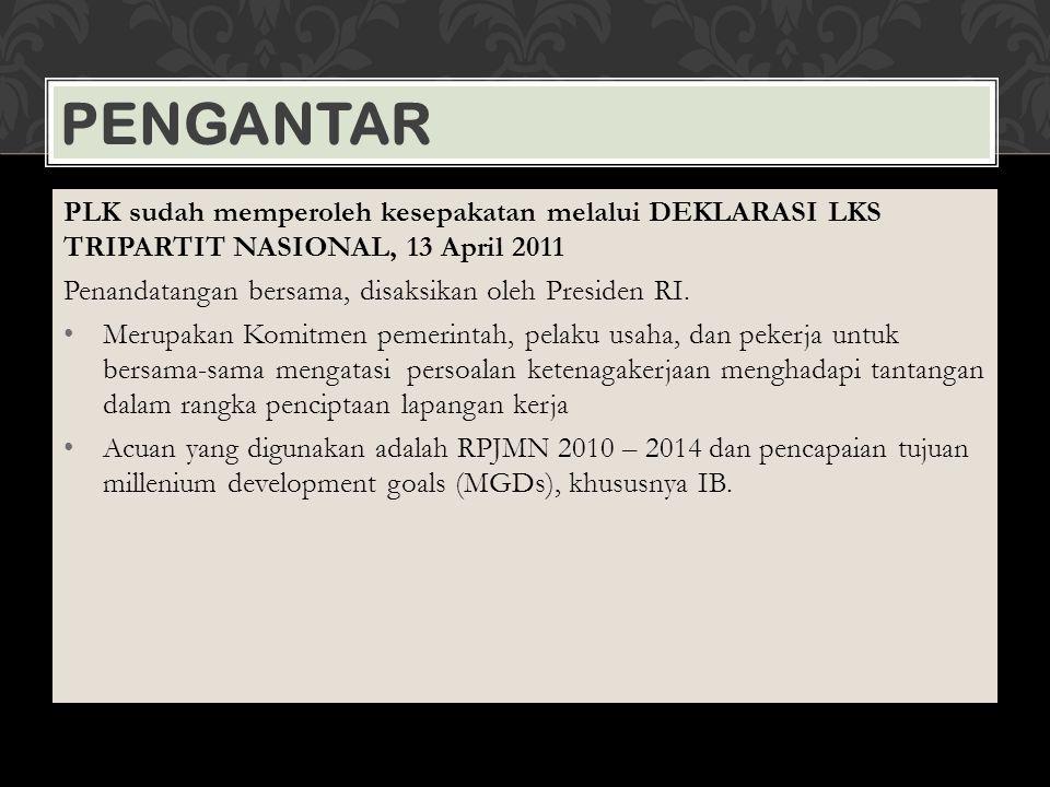 PENGANTAR PLK sudah memperoleh kesepakatan melalui DEKLARASI LKS TRIPARTIT NASIONAL, 13 April 2011 Penandatangan bersama, disaksikan oleh Presiden RI.