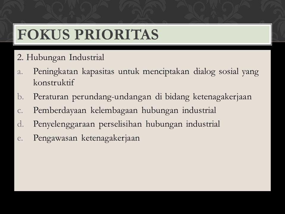 FOKUS PRIORITAS 2. Hubungan Industrial a.Peningkatan kapasitas untuk menciptakan dialog sosial yang konstruktif b.Peraturan perundang-undangan di bida