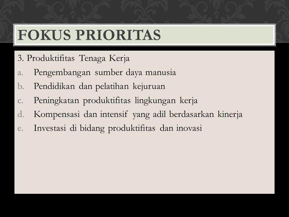 FOKUS PRIORITAS 3. Produktifitas Tenaga Kerja a.Pengembangan sumber daya manusia b.Pendidikan dan pelatihan kejuruan c.Peningkatan produktifitas lingk