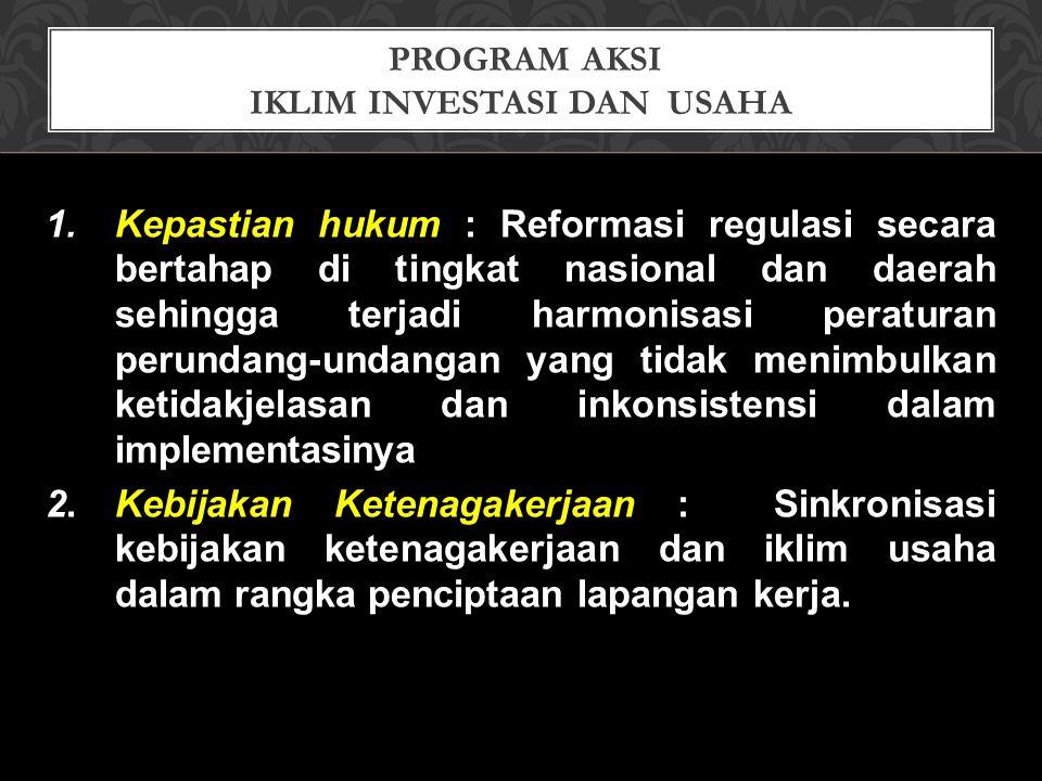 PROGRAM AKSI IKLIM INVESTASI DAN USAHA 1.Kepastian hukum : Reformasi regulasi secara bertahap di tingkat nasional dan daerah sehingga terjadi harmonis