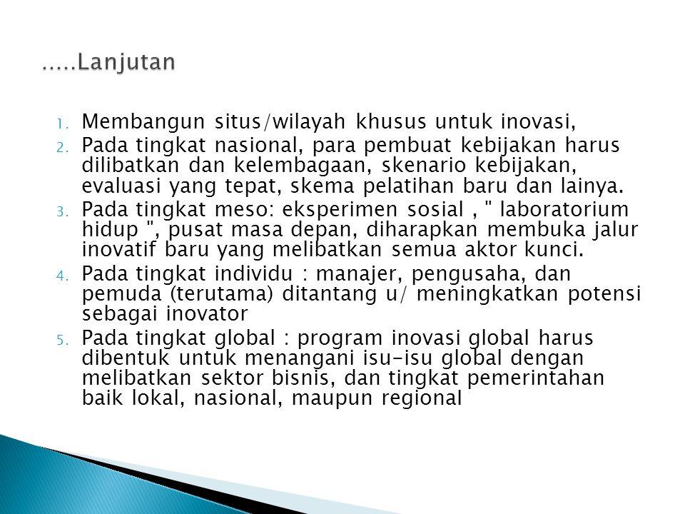 1. Membangun situs/wilayah khusus untuk inovasi, 2. Pada tingkat nasional, para pembuat kebijakan harus dilibatkan dan kelembagaan, skenario kebijakan