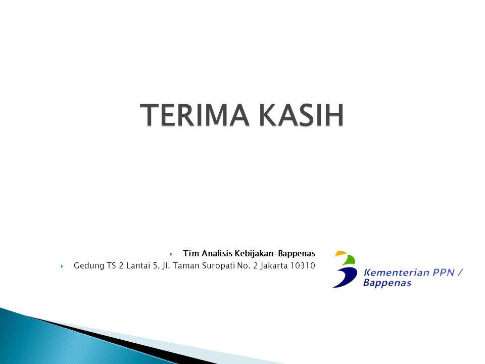 TERIMA KASIH  Tim Analisis Kebijakan-Bappenas  Gedung TS 2 Lantai 5, Jl. Taman Suropati No. 2 Jakarta 10310