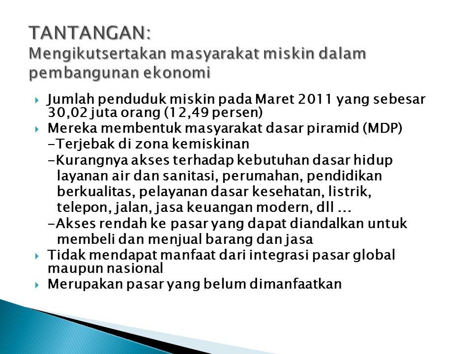  Jumlah penduduk miskin pada Maret 2011 yang sebesar 30,02 juta orang (12,49 persen)  Mereka membentuk masyarakat dasar piramid (MDP) -Terjebak di z