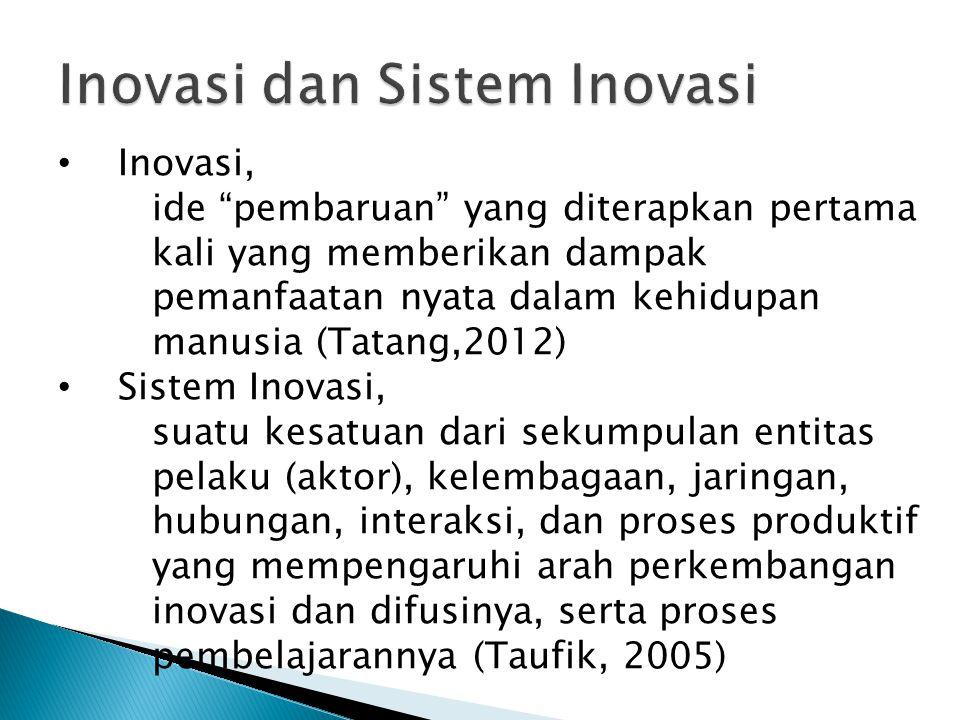"""Inovasi, ide """"pembaruan"""" yang diterapkan pertama kali yang memberikan dampak pemanfaatan nyata dalam kehidupan manusia (Tatang,2012) Sistem Inovasi, s"""