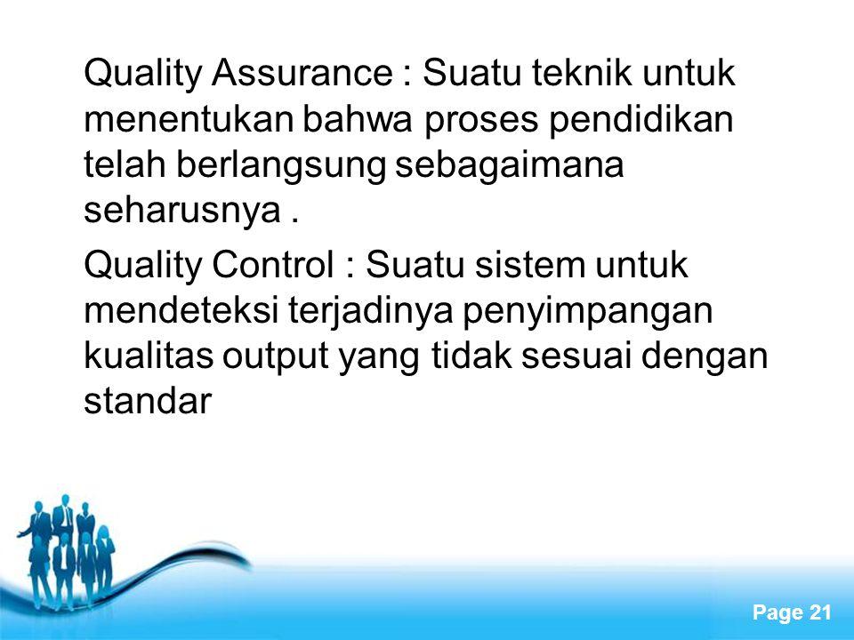Page 21 Quality Assurance : Suatu teknik untuk menentukan bahwa proses pendidikan telah berlangsung sebagaimana seharusnya. Quality Control : Suatu si