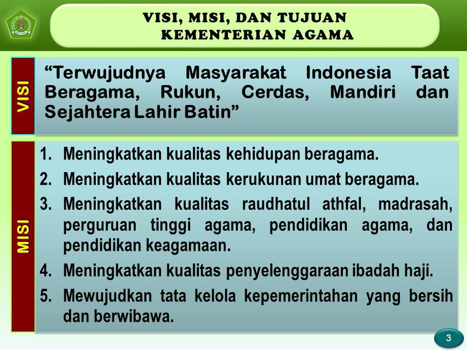 Page 4 Tujuan jangka panjang pembangunan bidang agama yang hendak dicapai oleh Kementerian Agama adalah terwujudnya masyarakat Indonesia yang taat beragama, maju, sejahtera, dan cerdas serta saling menghormati antar pemeluk agama dalam kehidupan bermasyarakat, berbangsa dan bernegara, dalam wadah Negara Kesatuan Republik Indonesia (NKRI).