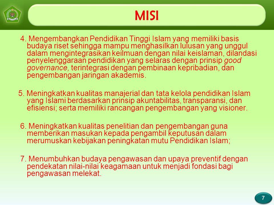 Page 7 7 7 4. Mengembangkan Pendidikan Tinggi Islam yang memiliki basis budaya riset sehingga mampu menghasilkan lulusan yang unggul dalam mengintegra