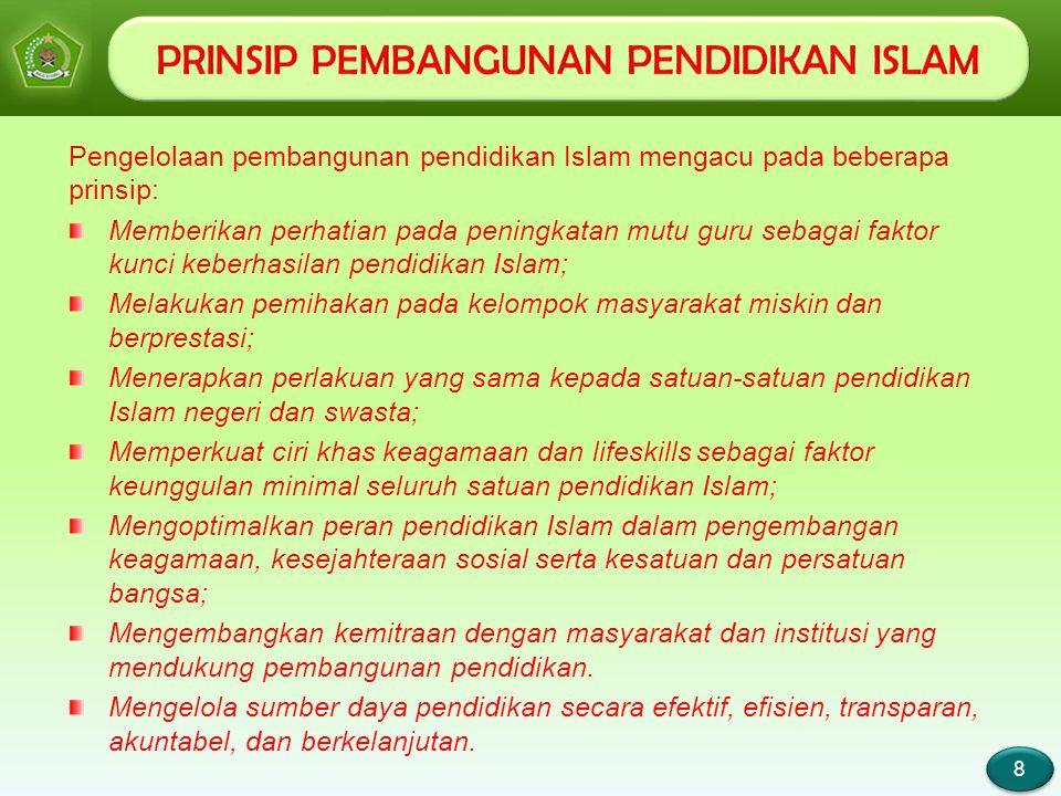 Page 9 9 9 Memastikan kompatibilitas aturan dan pedoman Pendidikan Islam dengan aturan dan pedoman pendidikan pada umumnya; Mendorong rintisan program unggulan secara tepat, cepat, dan berkelanjutan, yang memperlihatkan mutu pendidikan islam lebih baik dibandingkan dengan mutu pendidikan pada umumnya; Melakukan bencmarking dengan pendidikan yang lebih bermutu baik dalam negeri maupun luar negeri; Melakukan pendataan dan Mapping pendidikan Islam di Indonesia secara akurat, konstan, dan menarik untuk mendasari kebijaakan dan perlakuan nyata terhadap pengembangan, peningkatan mutu, dan pencitraan pendidikan Islam; Melanjutkan best practice yang sudah dicapai selama ini dan sekaligus mengeliminasi bad practice yang terjadi di masa lalu; Mengutamakan program yang langsung dirasakan oleh guru, siswa, dan eksponen satuan pendidikan lainnya; Memperkuat jaringan kordinasi struktural dan professional dengan mengoptimalkan peran satker dan pendidikan tinggi dalam binaan Ditjen Pendidikan Islam.