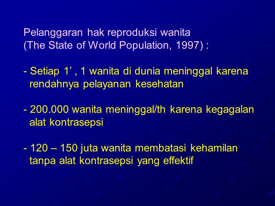 Pelanggaran hak reproduksi wanita (The State of World Population, 1997) : - Setiap 1', 1 wanita di dunia meninggal karena rendahnya pelayanan kesehatan - 200.000 wanita meninggal/th karena kegagalan alat kontrasepsi - 120 – 150 juta wanita membatasi kehamilan tanpa alat kontrasepsi yang effektif