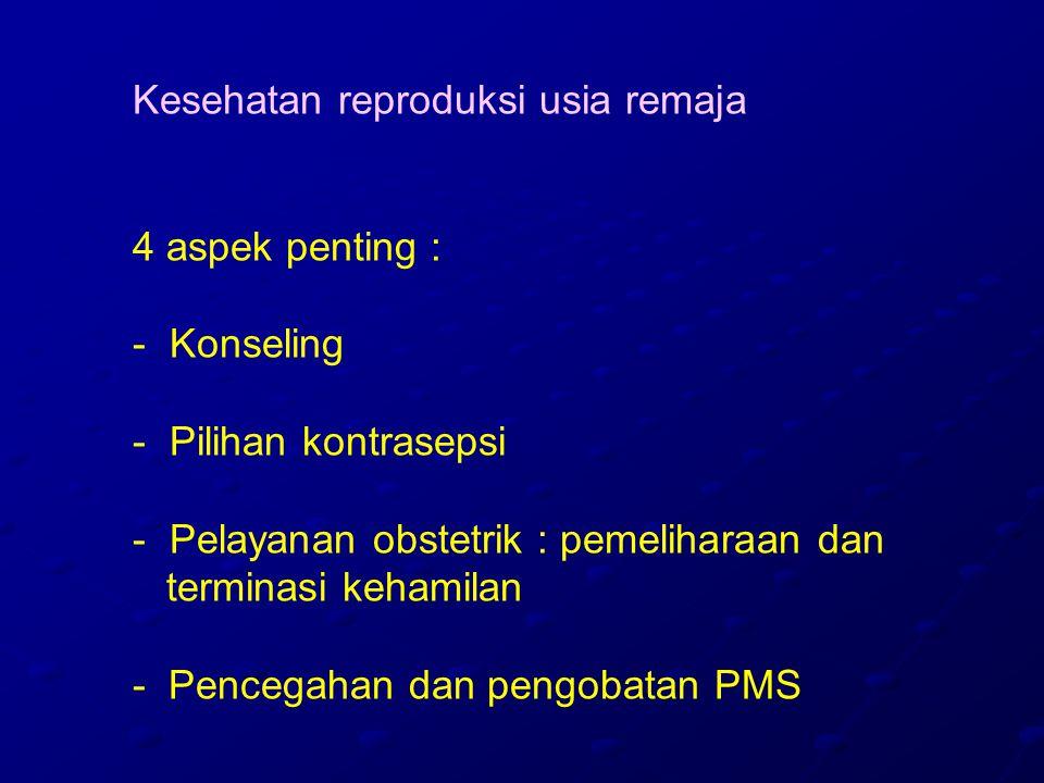 Kesehatan reproduksi usia remaja 4 aspek penting : - Konseling - Pilihan kontrasepsi - Pelayanan obstetrik : pemeliharaan dan terminasi kehamilan - Pencegahan dan pengobatan PMS