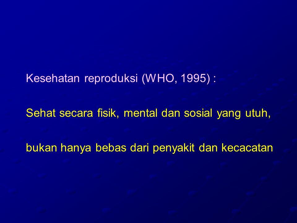Kesehatan reproduksi (WHO, 1995) : Sehat secara fisik, mental dan sosial yang utuh, bukan hanya bebas dari penyakit dan kecacatan