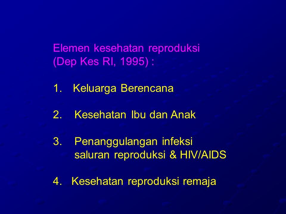 Elemen kesehatan reproduksi (Dep Kes RI, 1995) : 1.