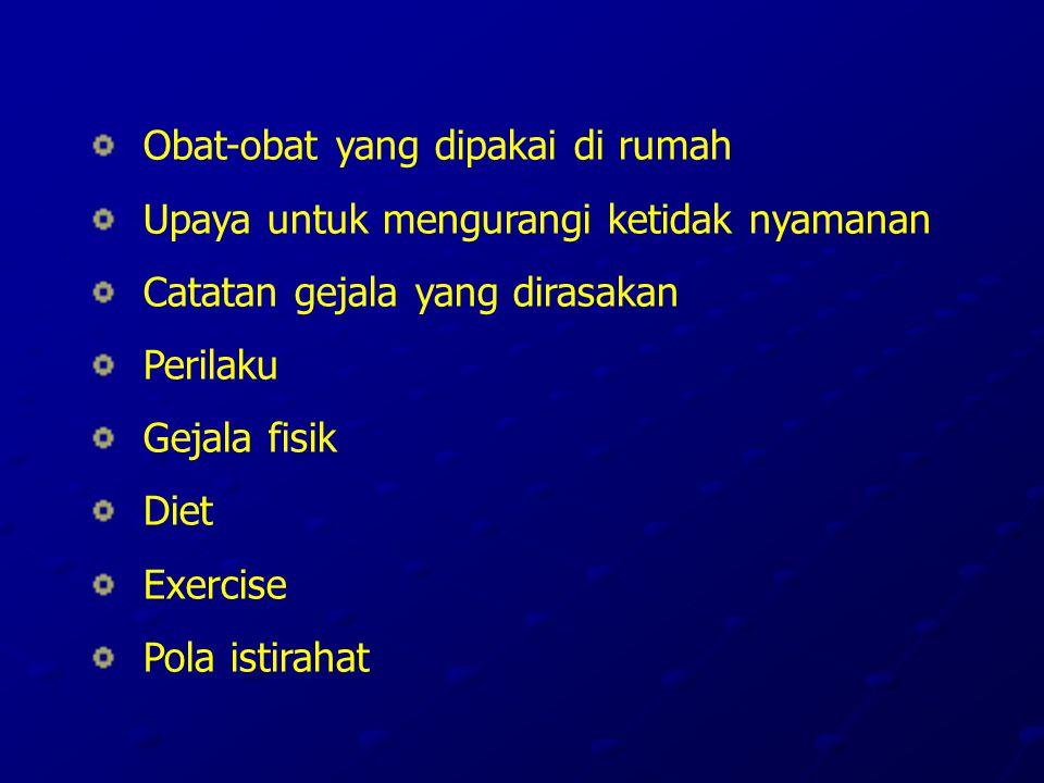 Obat-obat yang dipakai di rumah Upaya untuk mengurangi ketidak nyamanan Catatan gejala yang dirasakan Perilaku Gejala fisik Diet Exercise Pola istirahat