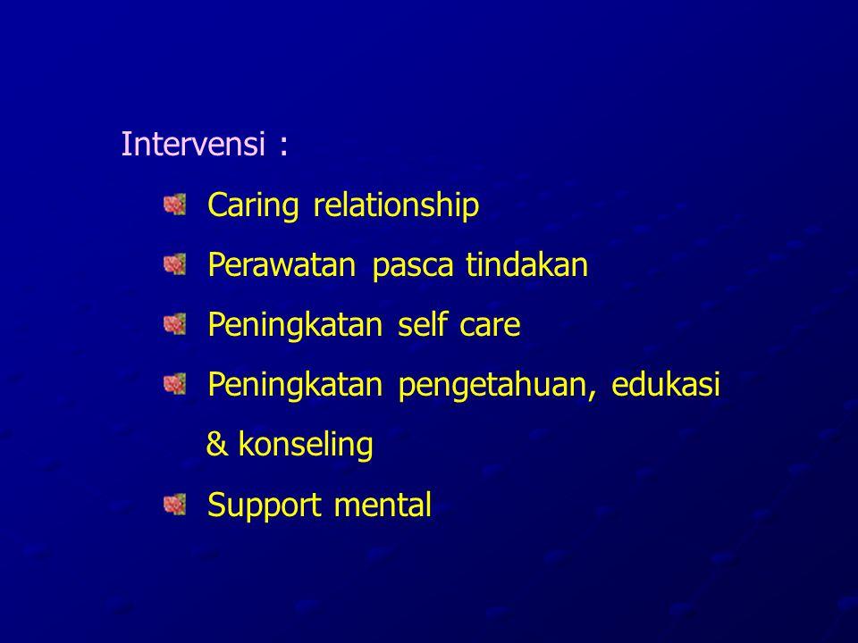 Intervensi : Caring relationship Perawatan pasca tindakan Peningkatan self care Peningkatan pengetahuan, edukasi & konseling Support mental
