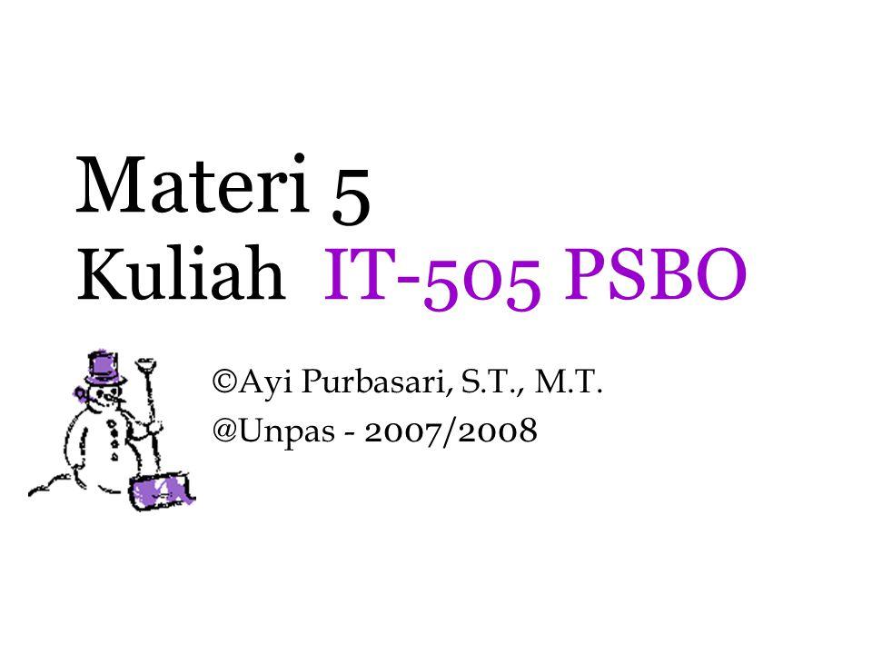 Materi 5 Kuliah IT-505 PSBO ©Ayi Purbasari, S.T., M.T. @Unpas - 2007/2008