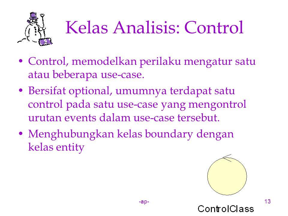 -ap-13 Kelas Analisis: Control Control, memodelkan perilaku mengatur satu atau beberapa use-case. Bersifat optional, umumnya terdapat satu control pad