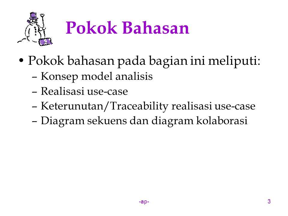 -ap-4 (Review) Framework RUP Merupakan framework yang dibuat berdasarkan model proses RUP, terdiri dari: –Use-case view Business use-case model Use-case model –Logical view Analysis model Business object model Design model –Component view Implementation model –Deployment view
