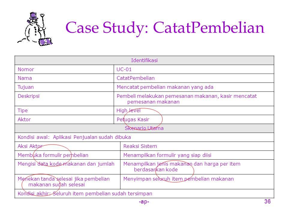 -ap-36 Case Study: CatatPembelian Identifikasi NomorUC-01 NamaCatatPembelian TujuanMencatat pembelian makanan yang ada DeskripsiPembeli melakukan peme