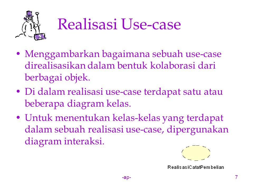 -ap-7 Realisasi Use-case Menggambarkan bagaimana sebuah use-case direalisasikan dalam bentuk kolaborasi dari berbagai objek. Di dalam realisasi use-ca
