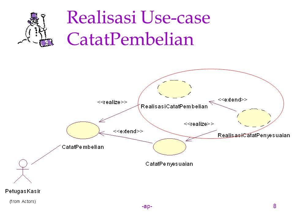 -ap-39 Diagram Interaksi: Diagram Kolaborasi Tujuan Diagram Kolaborasi adalah untuk memperlihatkan bagaimana objek saling terkait pada sebuah use-case.