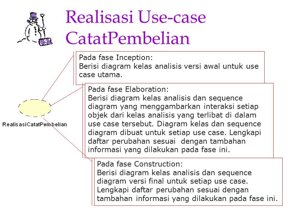 -ap-9 Realisasi Use-case CatatPembelian Pada fase Inception: Berisi diagram kelas analisis versi awal untuk use case utama. Pada fase Elaboration: Ber