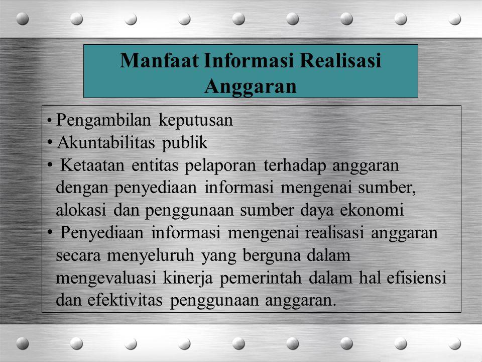 Pengambilan keputusan Akuntabilitas publik Ketaatan entitas pelaporan terhadap anggaran dengan penyediaan informasi mengenai sumber, alokasi dan pengg