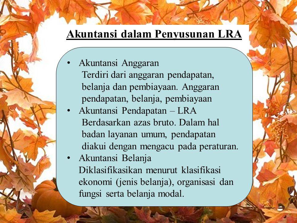Akuntansi dalam Penyusunan LRA Akuntansi Anggaran Terdiri dari anggaran pendapatan, belanja dan pembiayaan. Anggaran pendapatan, belanja, pembiayaan A