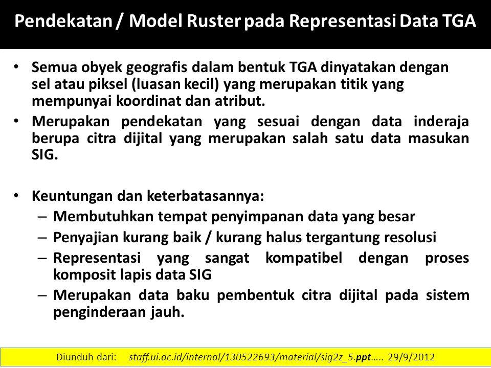 13 Pendekatan / Model Ruster pada Representasi Data TGA Semua obyek geografis dalam bentuk TGA dinyatakan dengan sel atau piksel (luasan kecil) yang m