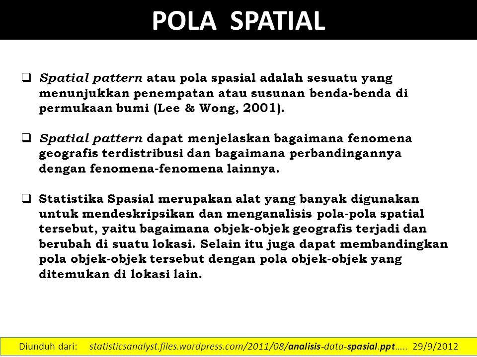 POLA SPATIAL  Spatial pattern atau pola spasial adalah sesuatu yang menunjukkan penempatan atau susunan benda-benda di permukaan bumi (Lee & Wong, 20
